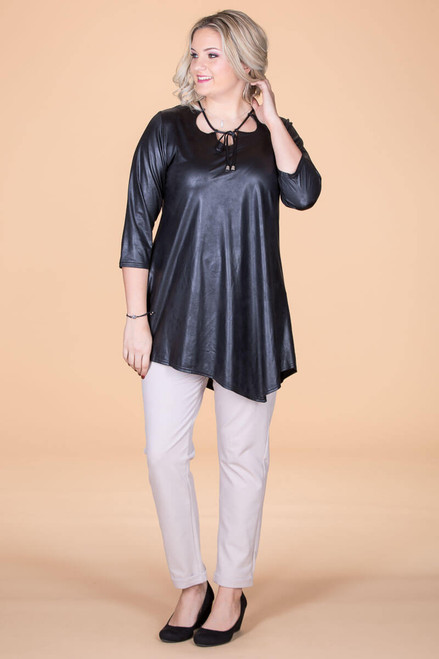 All I Could Wish For Tunic - Black Faux Leather