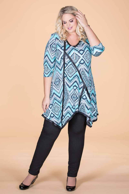 Day into Evening Tunic - Aqua Checkers Print