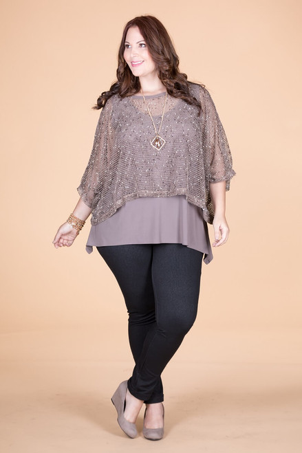 Transformative Net Layering Top - Taupe