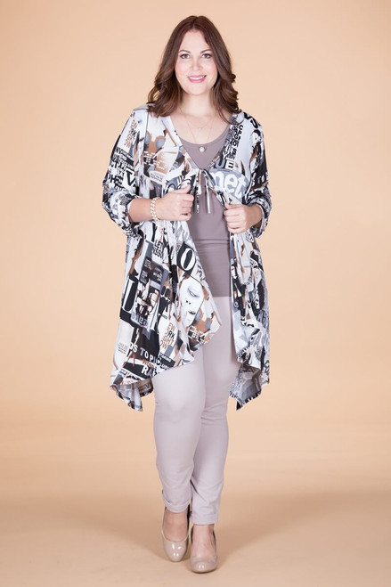 The Swing of Things Jacket - Taupe Magazine Print