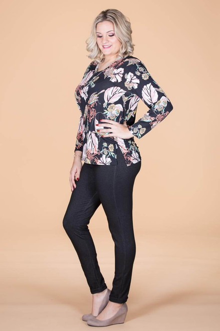 At Your Leisure Side Slit Top - Black Songbird Print