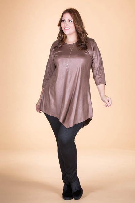 Say it Out Loud Tunic - Taupe Faux Leather