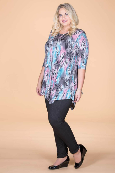Say it Out Loud Tunic - Blue Feather Print
