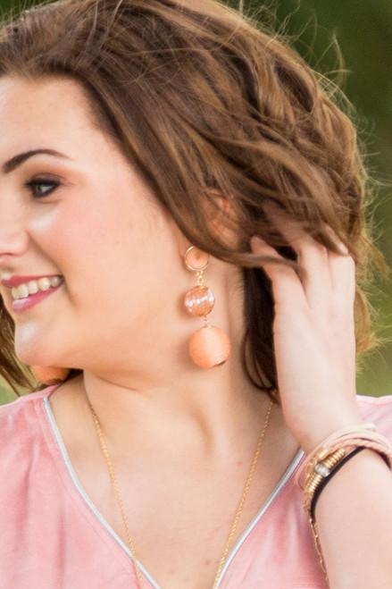 Mix Media Ball Drop Earrings  - Peach