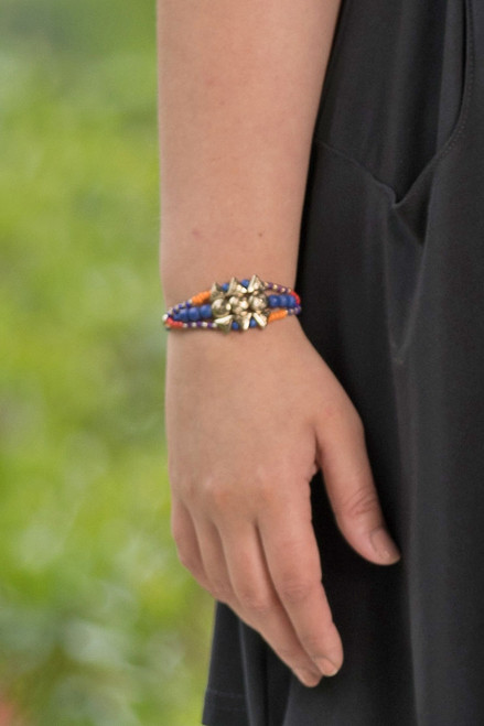 Native Beaded String Bracelet - Blue