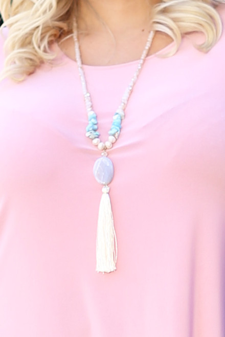 Semi Precious Pebble Tassel & Mixed Bead Necklace - Cream/Turquoise