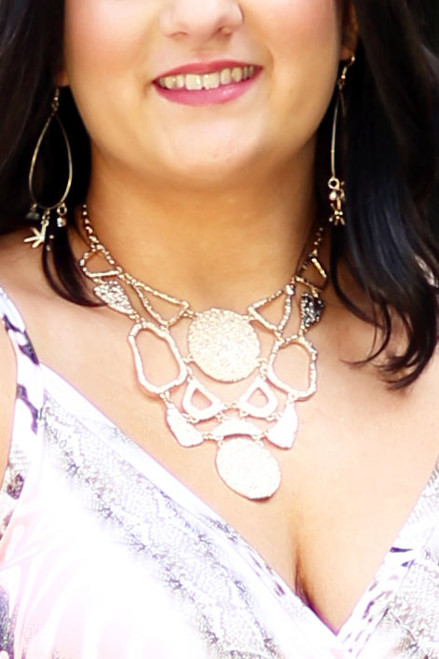 Textured Metal Plates Statement Necklace -  Gold