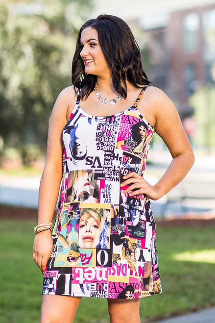 Perfectly on Point Tank Dress - Magazine Print