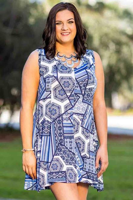 Feel The Beat Sleeveless Tunic Dress - Building Blocks Print