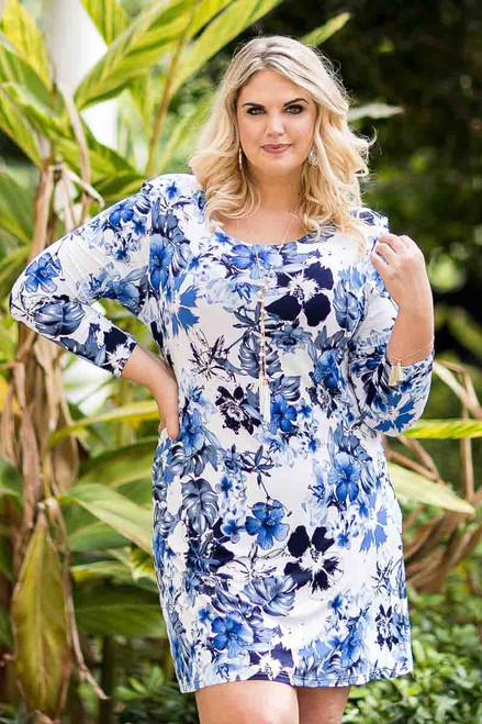 A Multi-Tasker, Just Like Me Dress - Blue Hawaiian Print