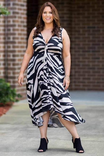 Summer Breeze V-Neck Long Flowy Dress - Animal Print