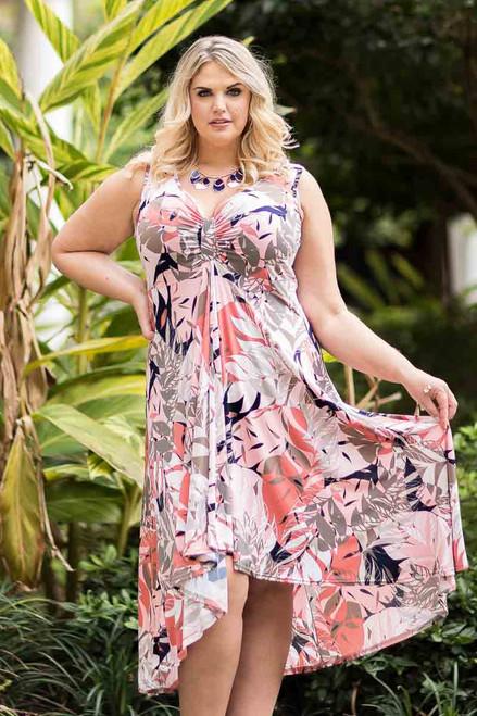 Summer Breeze V-Neck Long Flowy Dress - Soft Layered Leaves Print