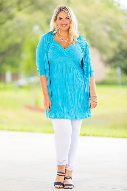 Going Your Way Tunic with Scarf - Turquoise