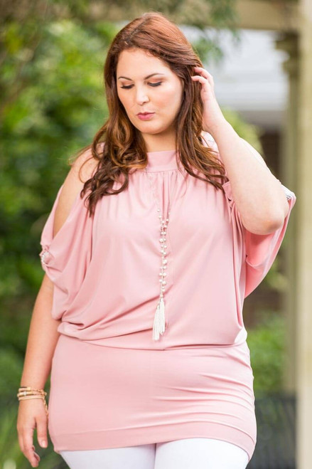 Night Out Shoulders Out Tunic - Rosa
