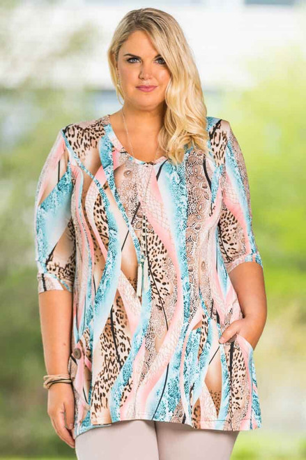 Fitted Pocket Tunic - Animalistic Waves