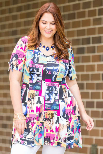 Pretty as a Picture Short Sleeve Top - Magazine Print