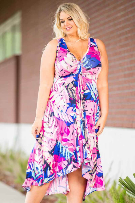 Summer Breeze V-Neck Long Flowy Dress - Pink Scattered Leaves Print