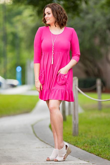 Girl Next Door Tunic Dress- Light Fuchsia
