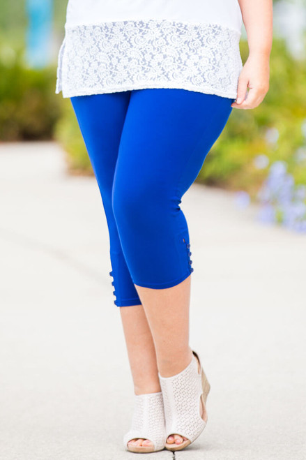 Easy as 1, 2, 3, 4-Button Leggings - Cobalt