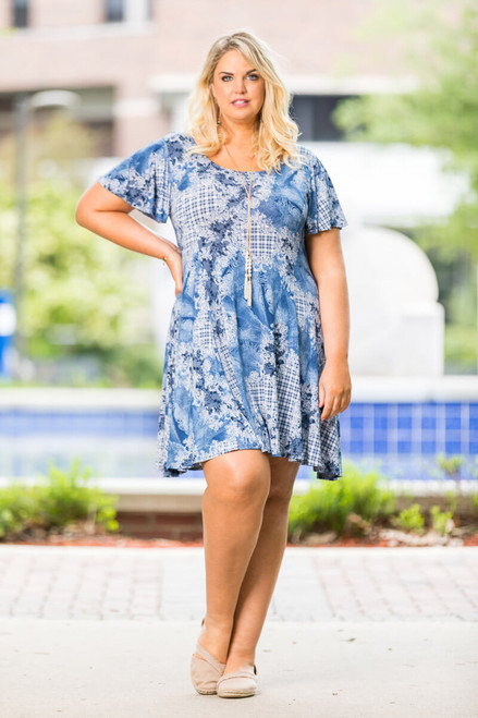 Better Than Ordinary Blouson Dress - Country Denim Print