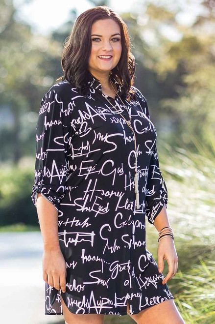 All Buttoned Up Shirt Dress - Script Print