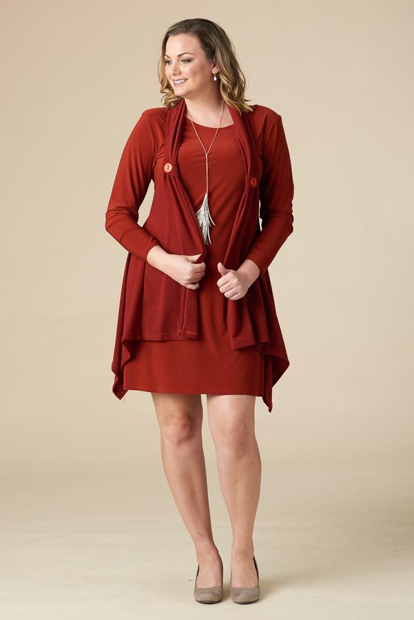 HAPPY GO LUCKY DRESS/VEST SET - Rust