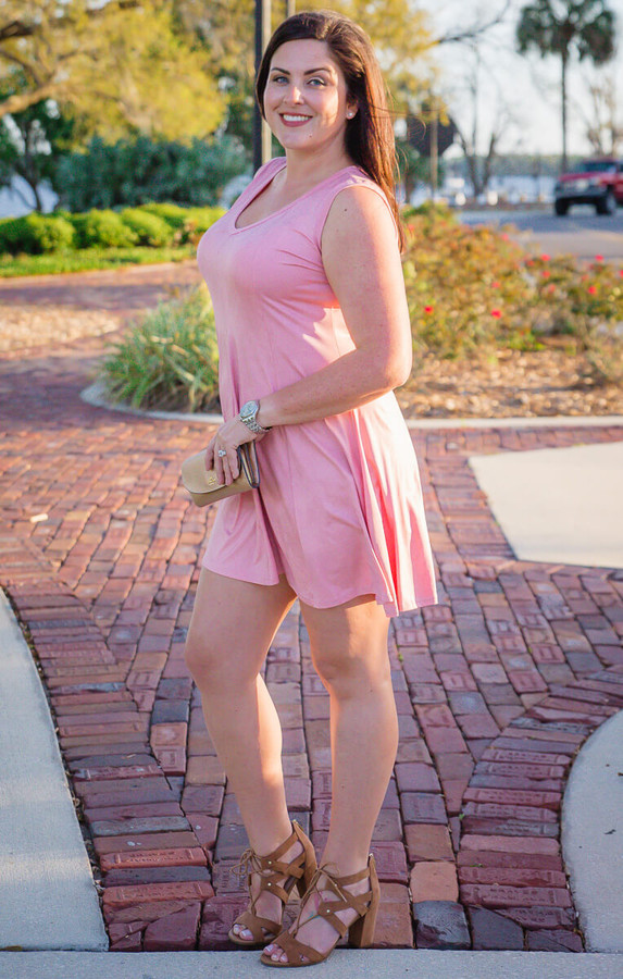 Feel The Beat Dress - Faux Leather Rosa