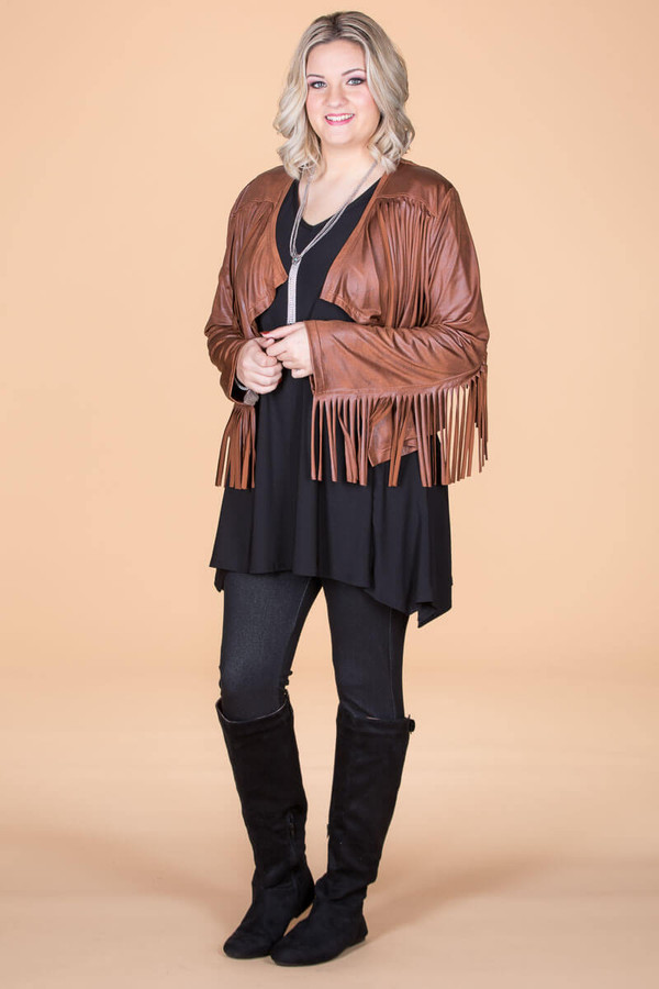 Leader of the Pack Fringed Bolero - Natural Orange Faux Leather