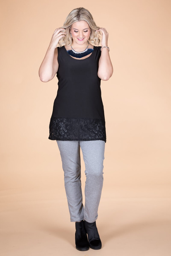 Every Day Lace Trimmed Tank - Black