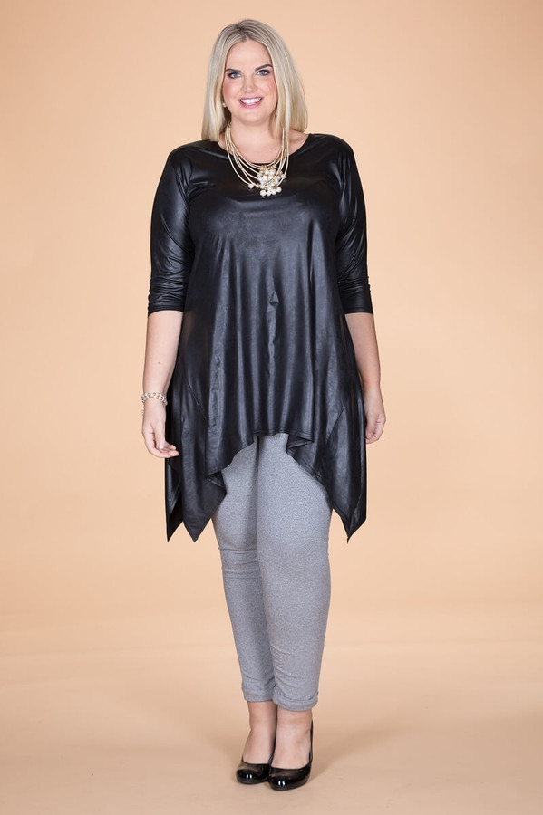 Your Best Foot Forward Tunic - Black Faux Leather