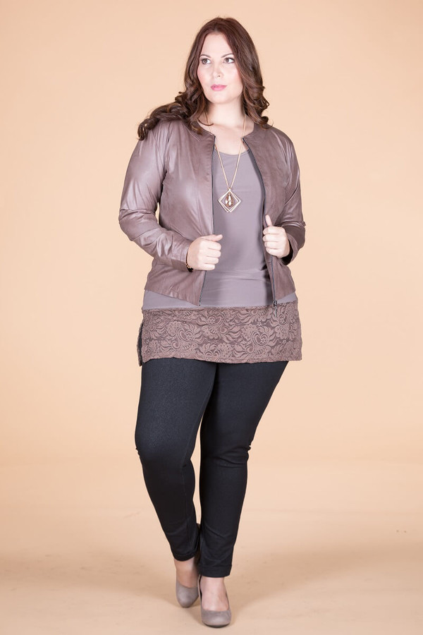 Get the Edge Seamed Moto Jacket - Taupe Faux Leather