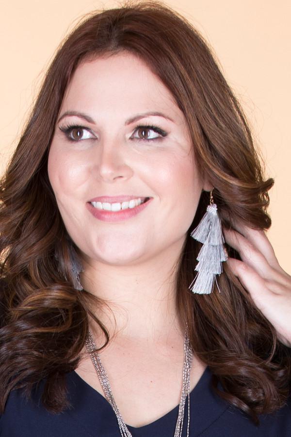 Layered Tassel Earrings ƒ?? Grey