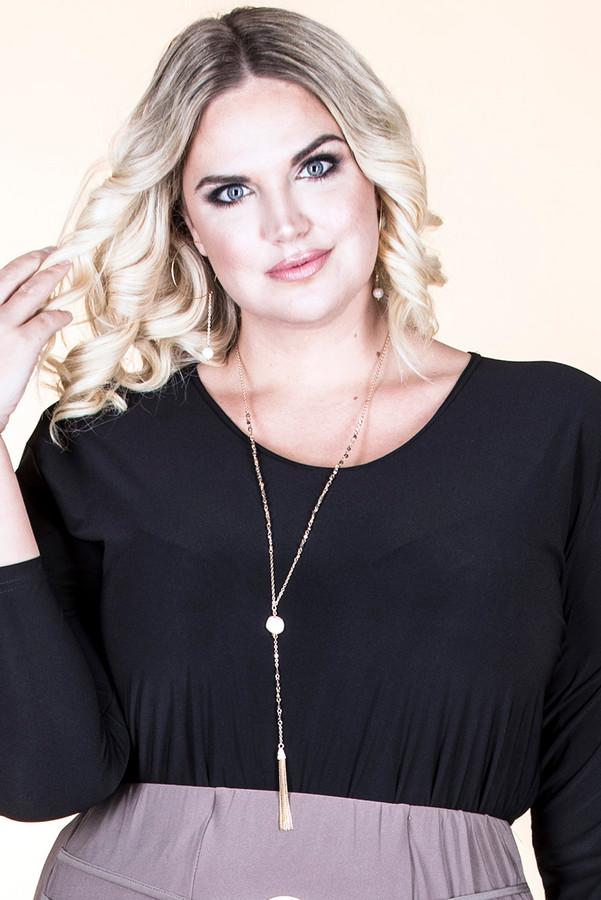 Tassel and Pearl Drop Necklace - Gold