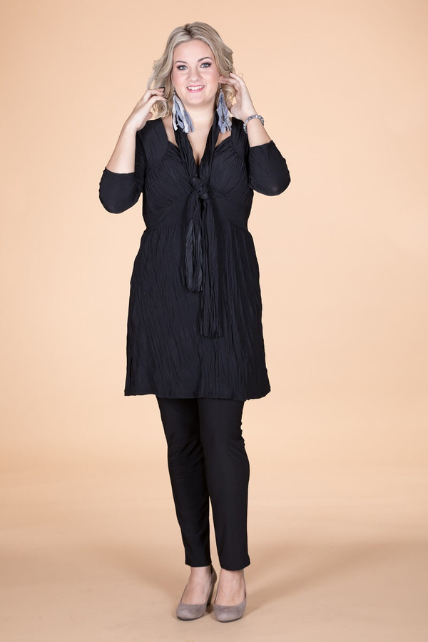 Going Your Way Tunic with Scarf - Black