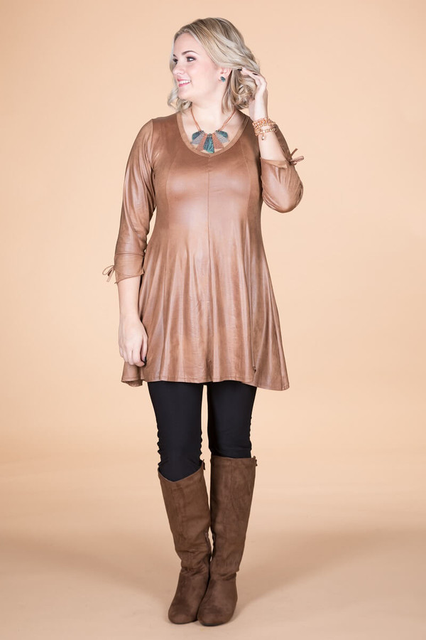 Off the Cuff Tunic - Oaker Faux Leather