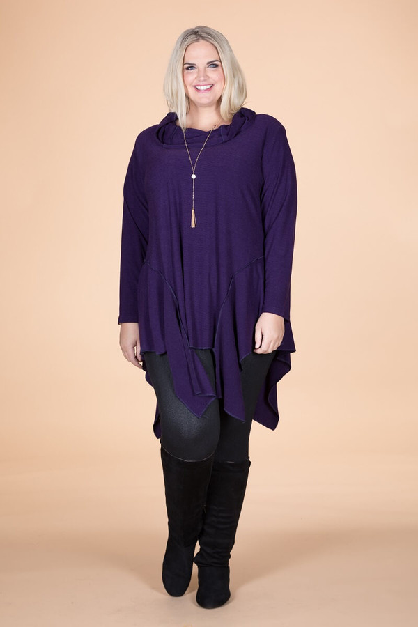 Coffee Break CowlNeck Tunic - Purple