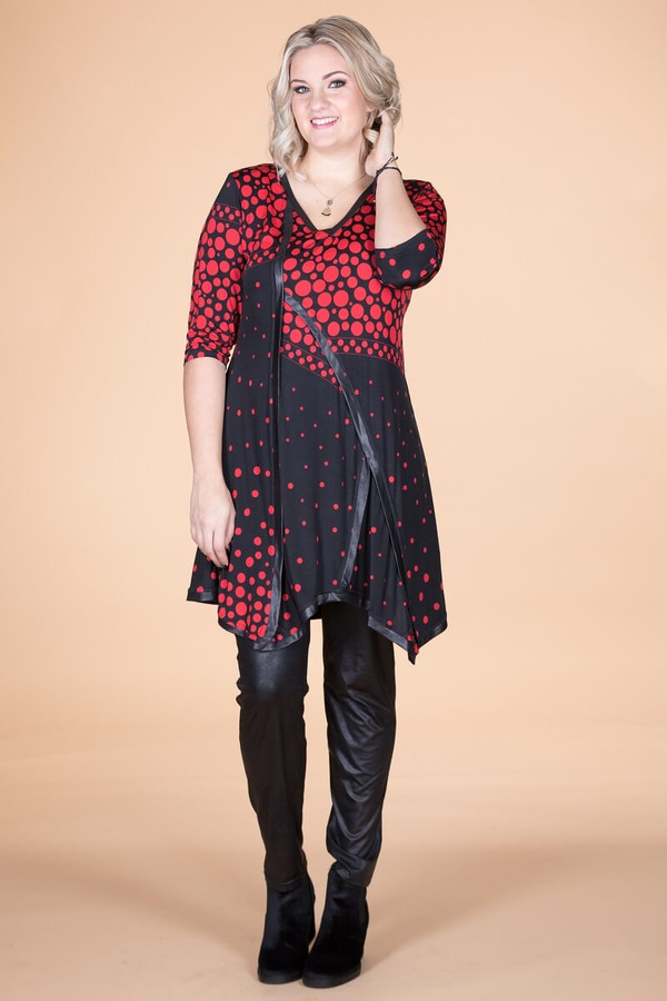 Day into Evening Tunic - Red Spotted Print