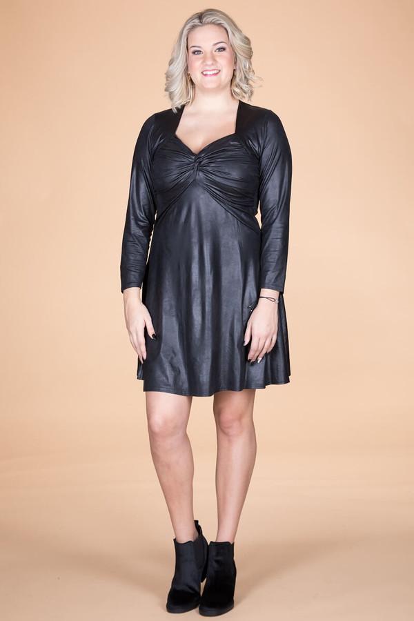 Take Me Dancing Dress - Faux Leather Black