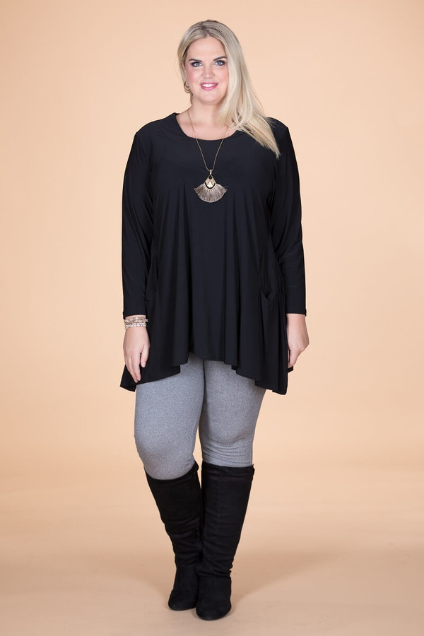 Chevron Shaped Tunic with Pocket - Black