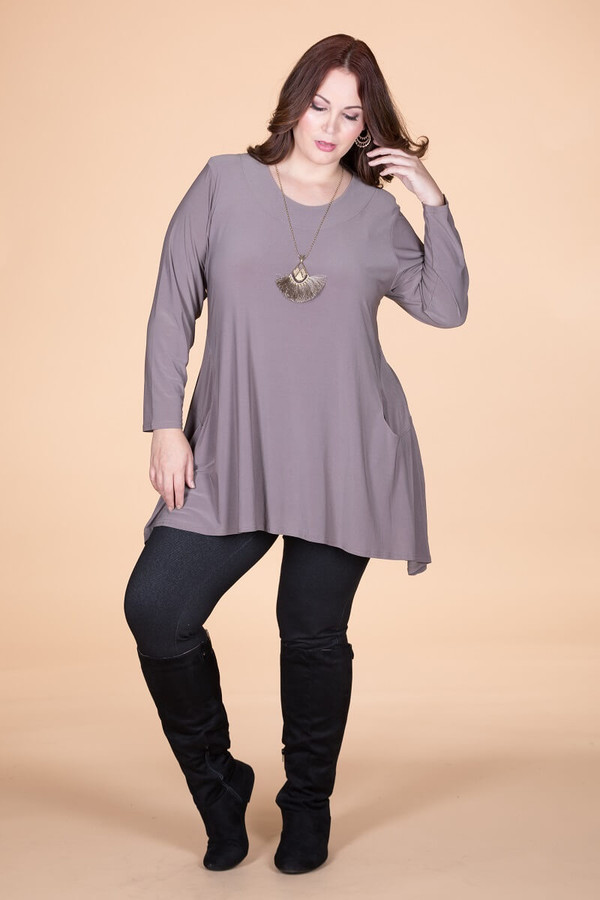 Chevron Shaped Tunic with Pocket - Taupe