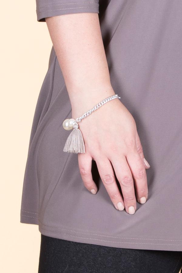 Double Pearl Silk Tassel Chain Bracelet - Silver / Taupe
