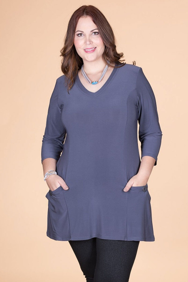 Fitted Pocket Tunic - Grey