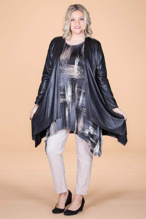 Saturday Morning Open Front Cardigan - Black Faux Leather