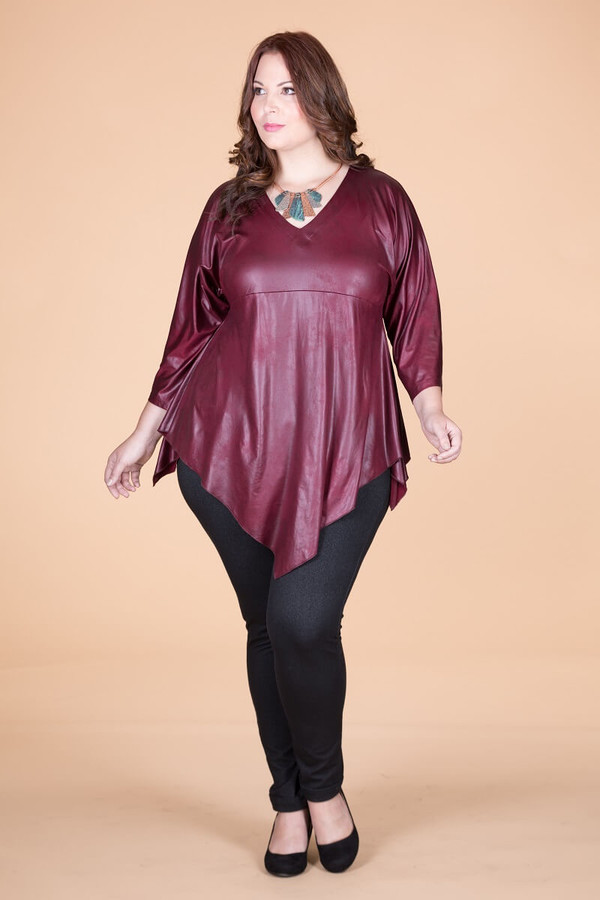 Girls Just Want to Have Fun Modern Top - Wine Faux Leather