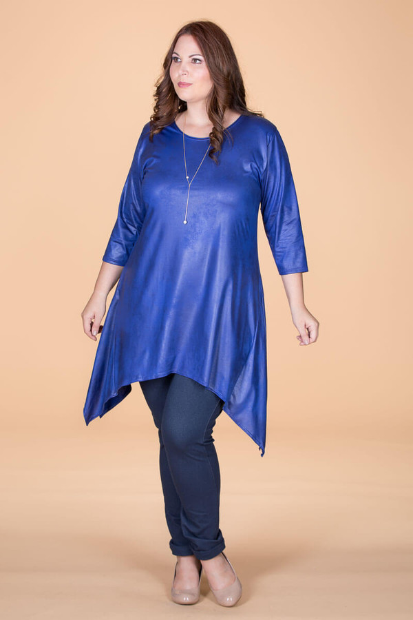 Your Best Foot Forward Tunic - Blue Faux Leather