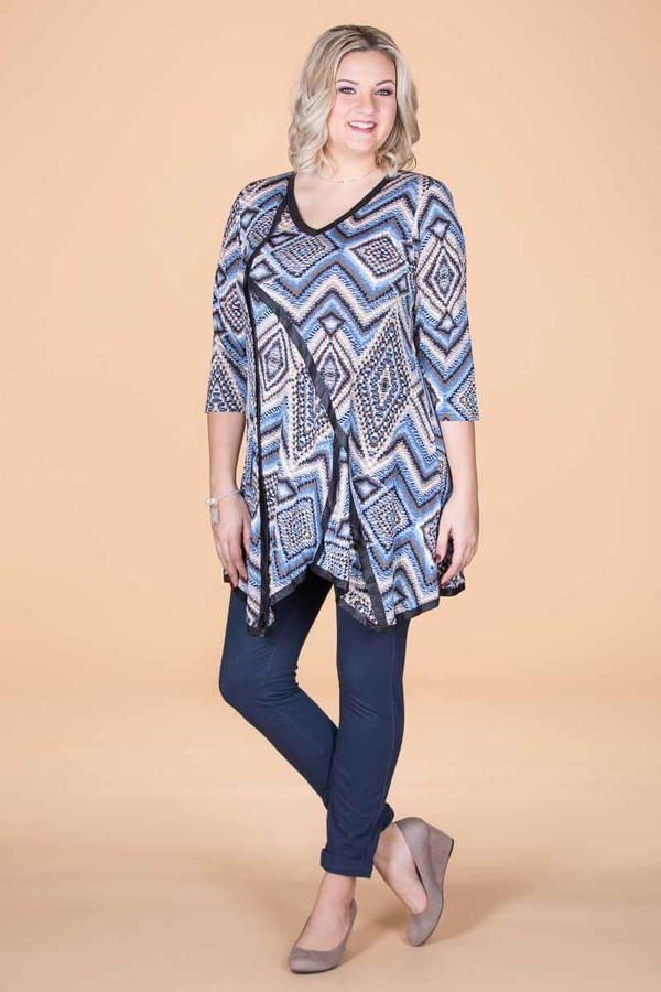 Day into Evening Tunic - Blue Checkers Print