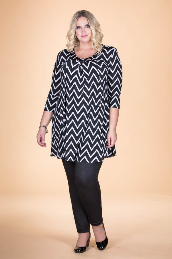 Tie-Back Tunic - Chevron Print
