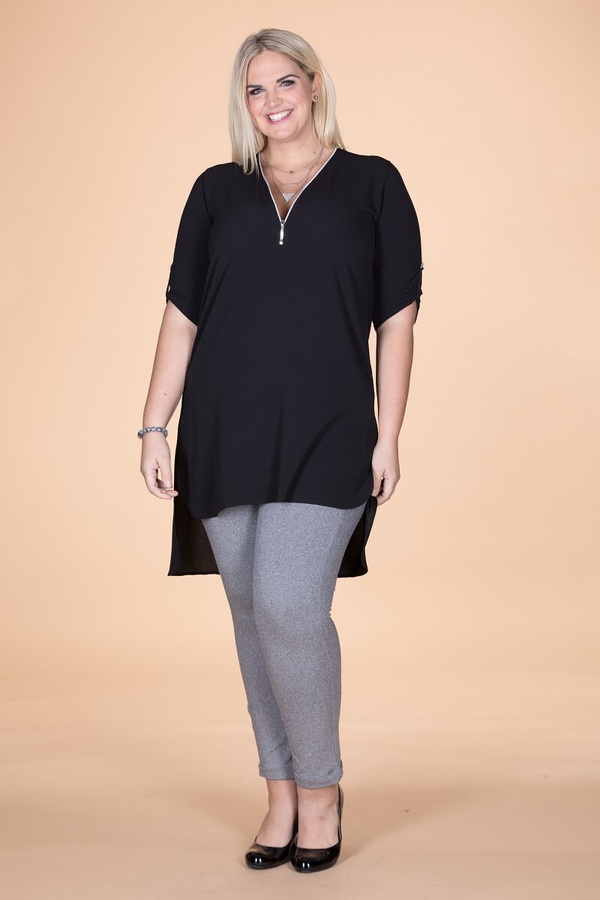 High-Low Chiffon Tunic - Black