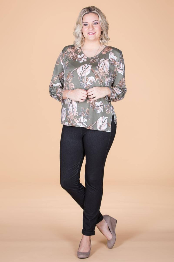 At Your Leisure Side Slit Top -  Green Songbird Print