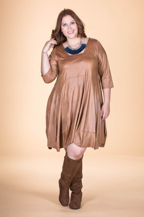 Swing Out Sister Dress - Oaker Faux Leather